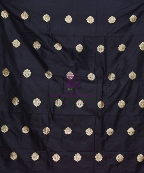 Banarasi Pure Handloom Katan Silk Fabric in Black 3