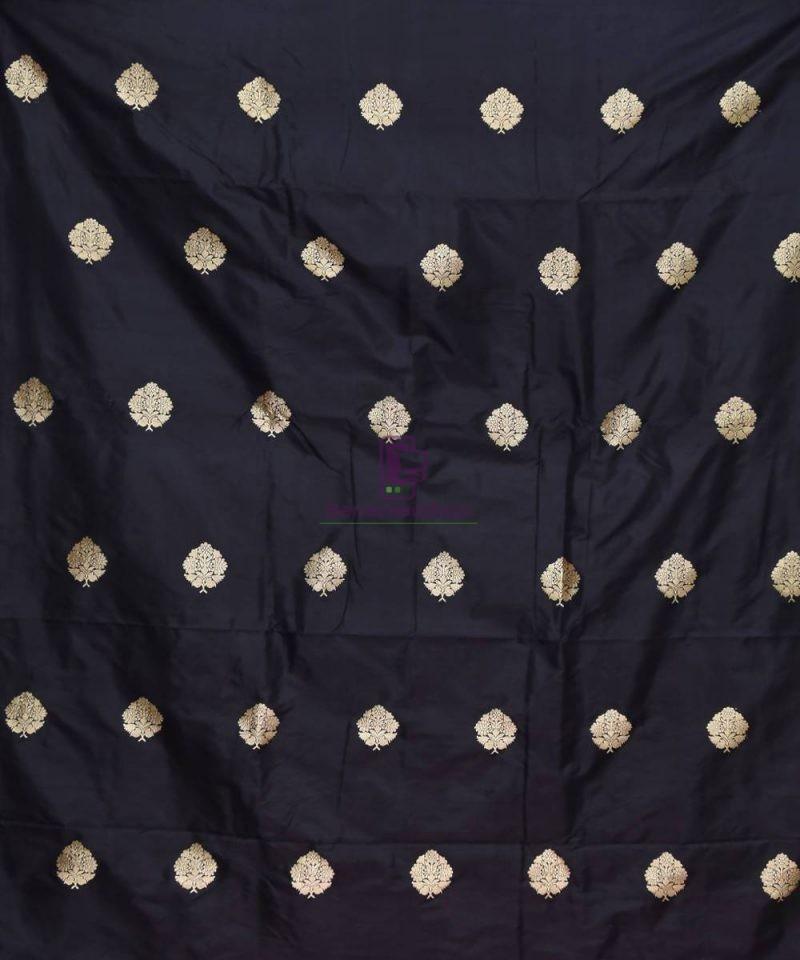 Banarasi Pure Handloom Katan Silk Fabric in Black 2