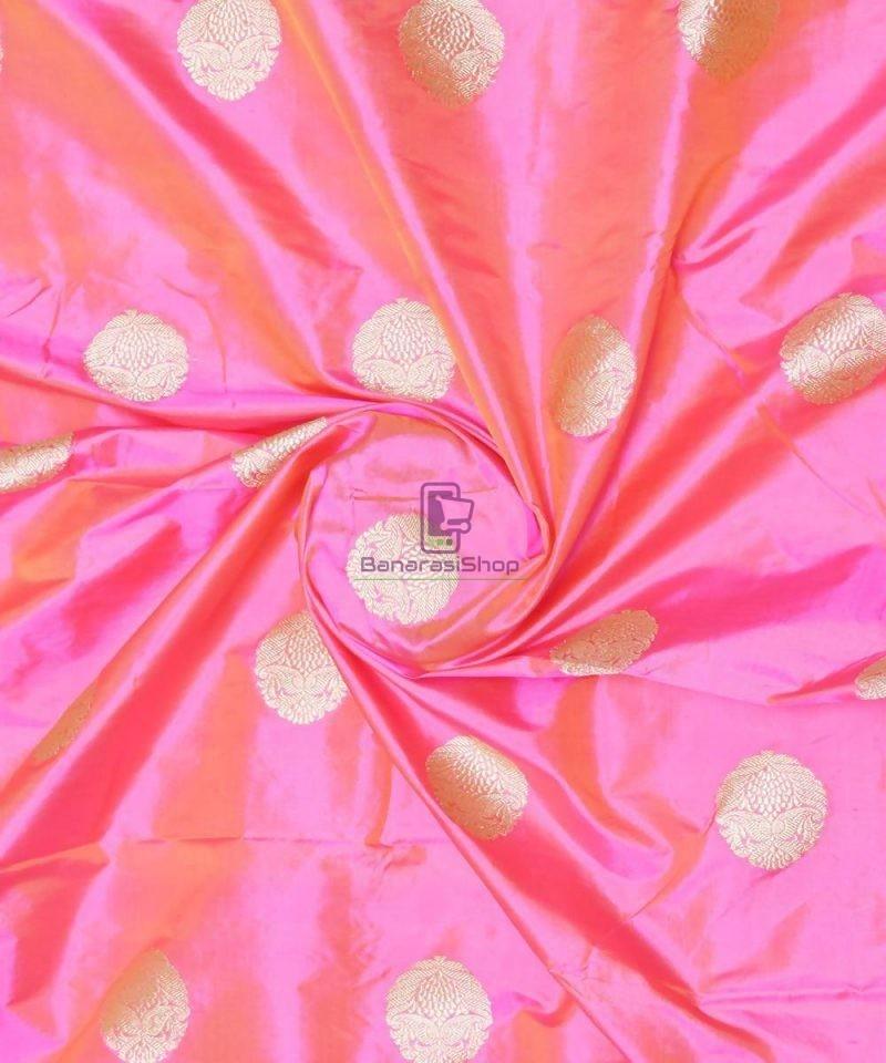 Banarasi Pure Handloom Katan Silk Fabric in Pink 1