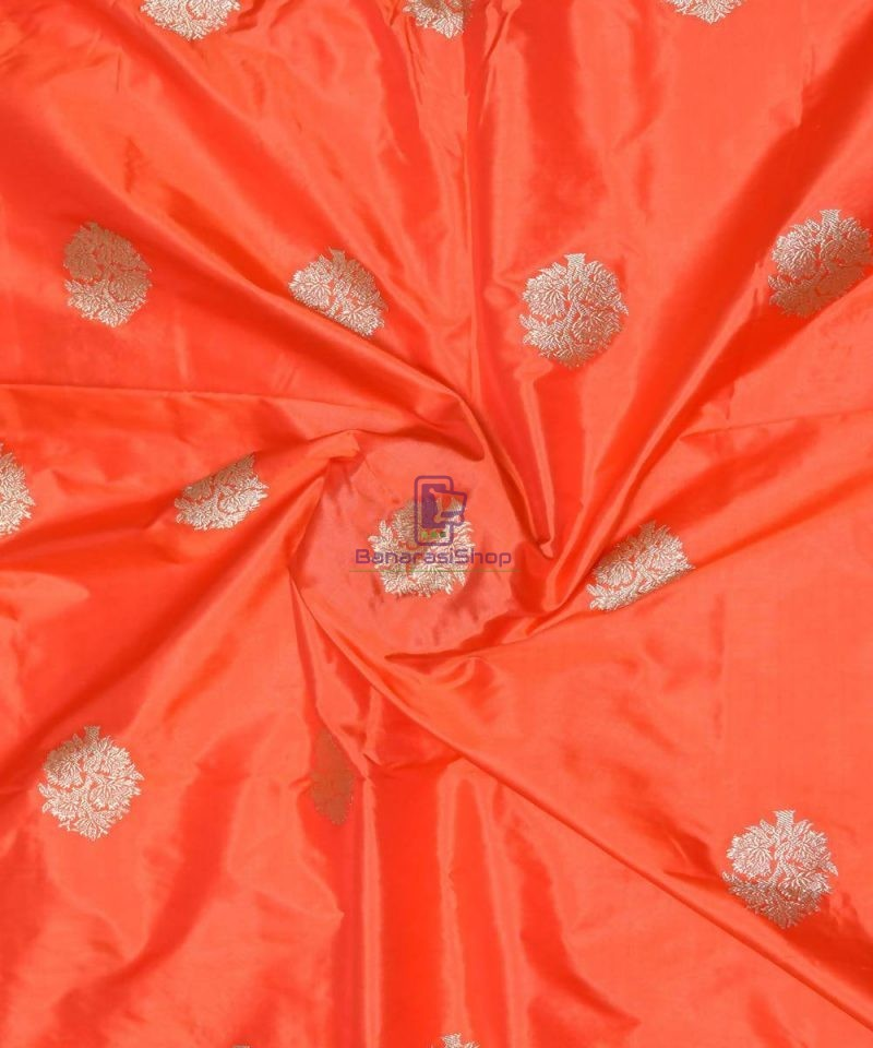 Banarasi Pure Handloom Katan Silk Fabric in Fire Orange 1