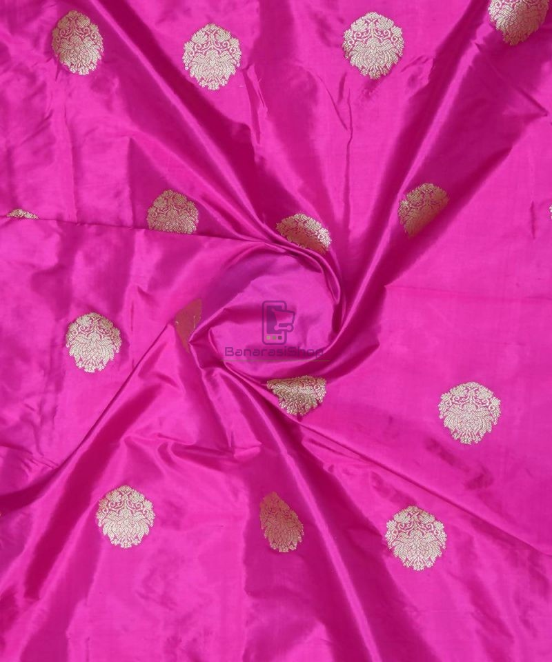 Banarasi Pure Handloom Katan Silk Fabric in Jam Purple 1