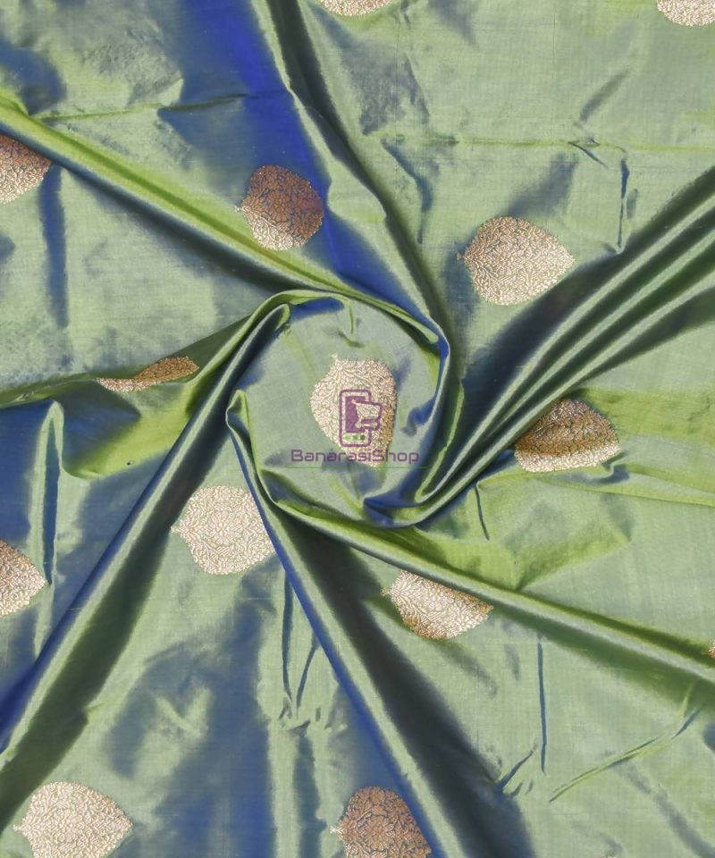 Banarasi Pure Handloom Katan Silk Fabric in Ocean Green 1