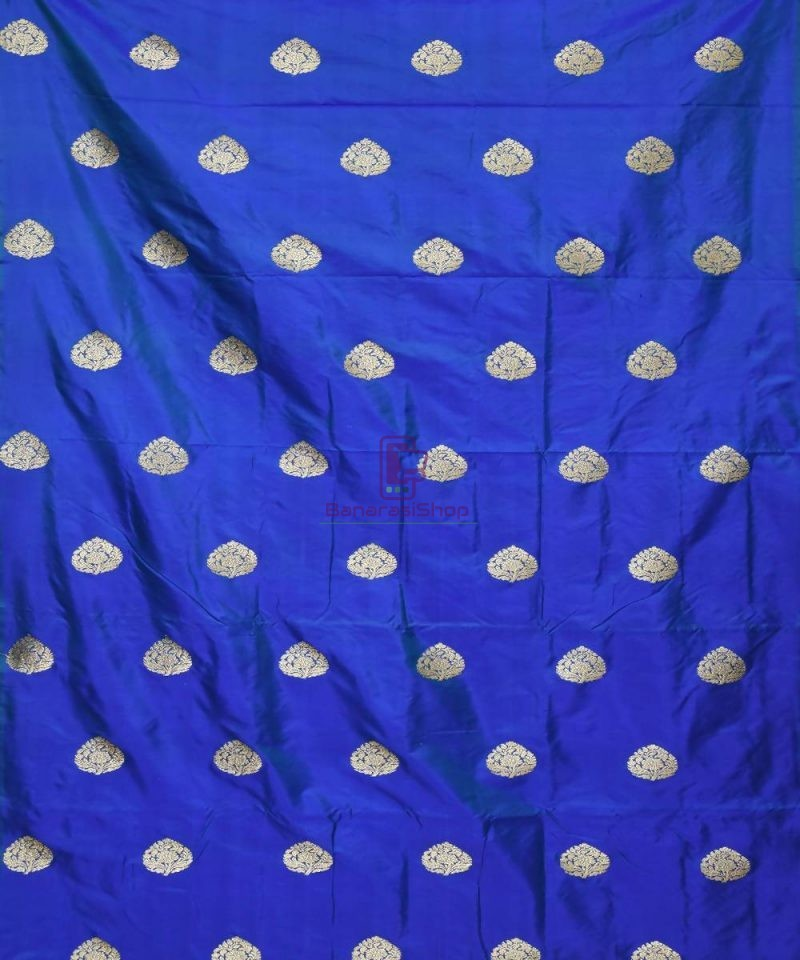 Banarasi Pure Handloom Katan Silk Fabric in Navy Blue 2