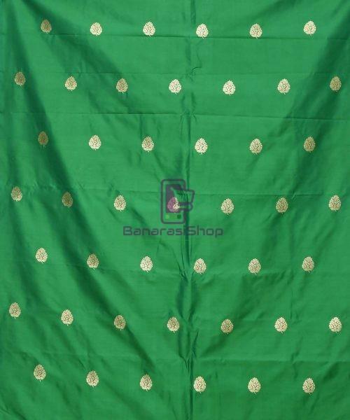 Banarasi Pure Handloom Katan Silk Fabric in Green 3