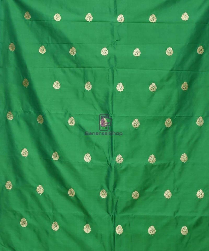 Banarasi Pure Handloom Katan Silk Fabric in Green 2
