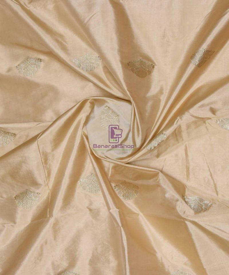 Banarasi Pure Handloom Katan Silk Fabric in Beige 1