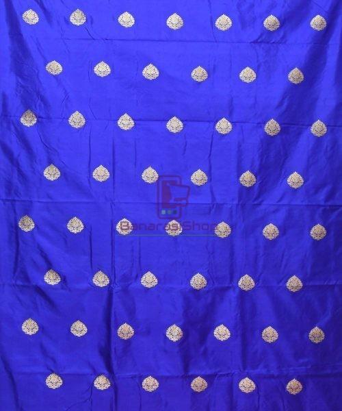 Banarasi Pure Handloom Katan Silk Fabric in Navy Blue 3