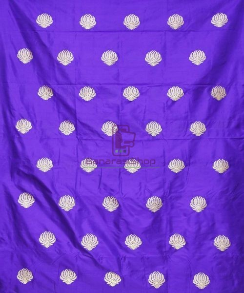 Banarasi Pure Handloom Katan Silk Fabric in Berry Blue 3