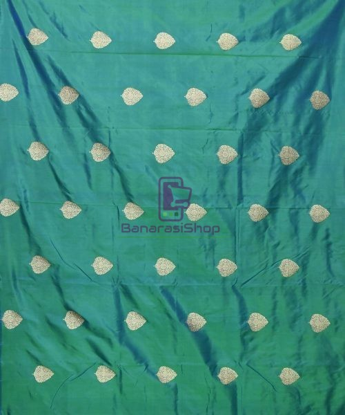 Banarasi Pure Handloom Katan Silk Fabric in Peacock Green 3