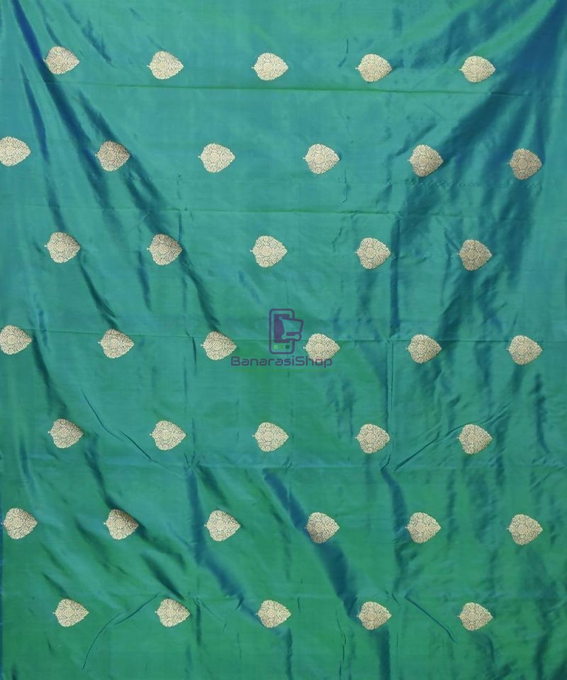 Banarasi Pure Handloom Katan Silk Fabric in Peacock Green 2