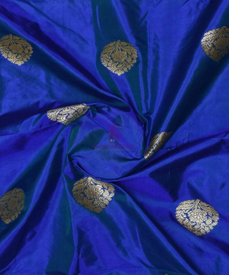 Banarasi Pure Handloom Katan Silk Fabric in Navy Blue 1