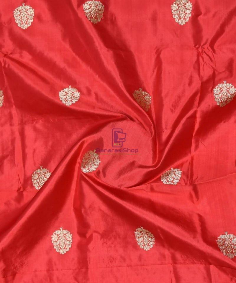 Banarasi Pure Handloom Katan Silk Fabric in Ruby Red 1