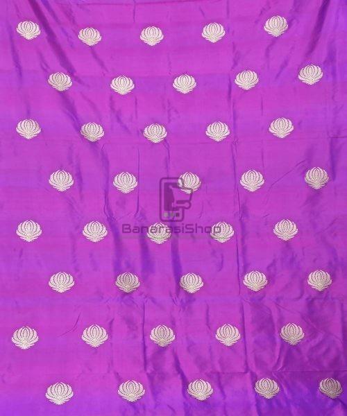Banarasi Pure Handloom Katan Silk Fabric in Purple 3