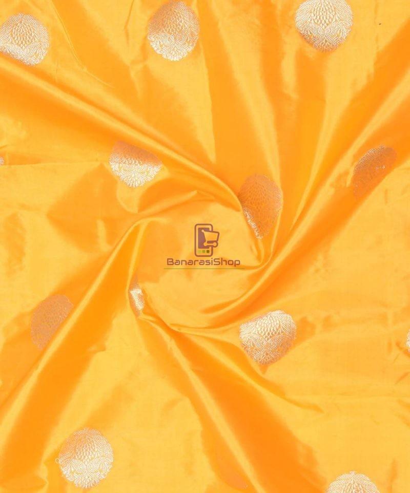Banarasi Pure Handloom Katan Silk Fabric in Yellow 1