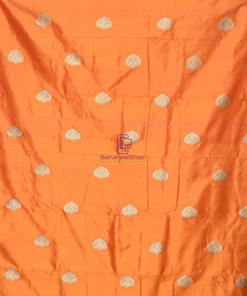 Banarasi Pure Handloom Katan Silk Fabric in Orange 2