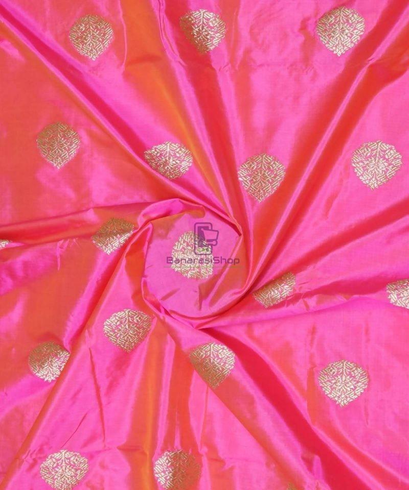 Banarasi Pure Handloom Katan Silk Fabric in Fuschia Pink 1