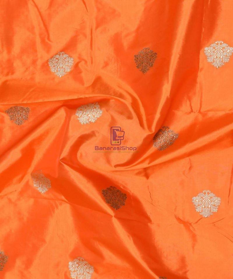 Banarasi Pure Handloom Katan Silk Fabric in Orange 1