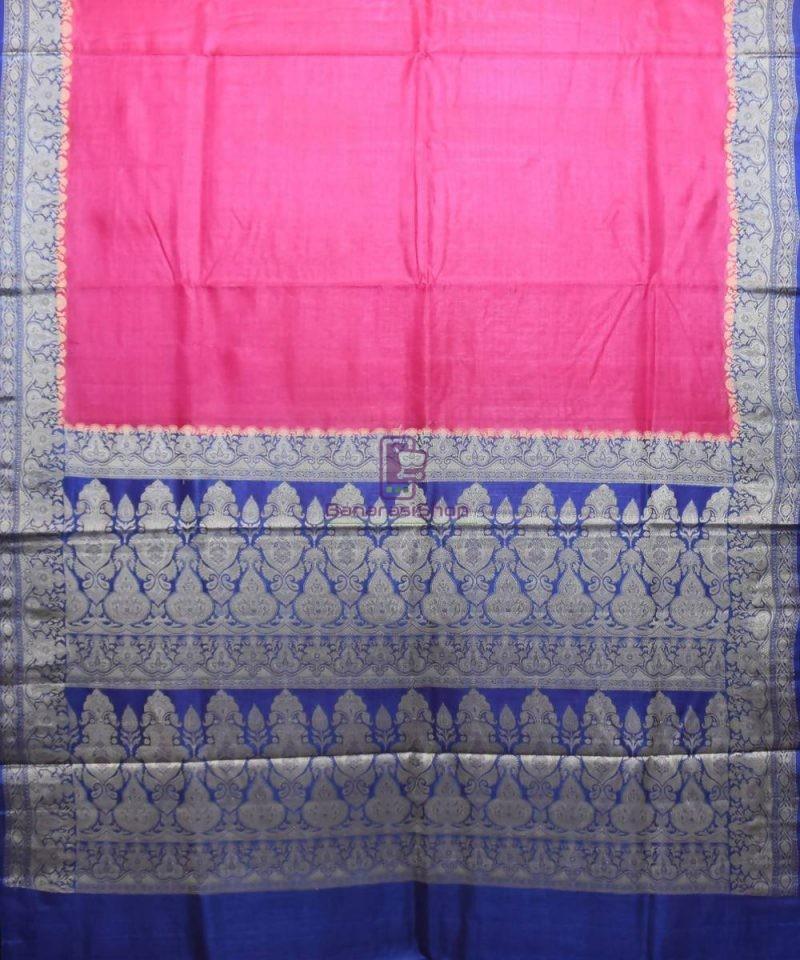 Woven Pure Tussar Silk Banarasi Saree in Fuschia Pink 1
