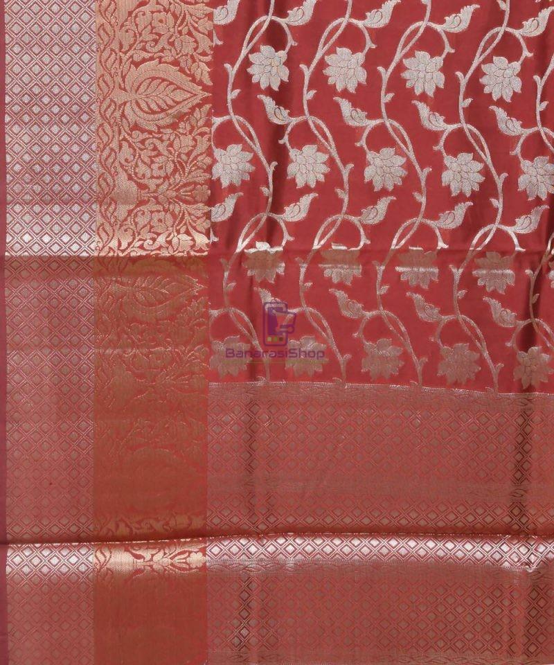 Pure Silk Banarasi Dupion Katan Handloom Saree in Rosewood 2
