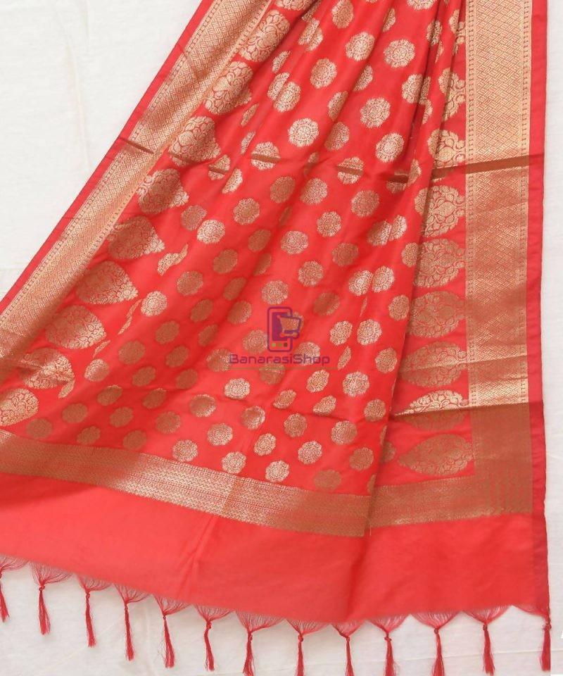 Woven Banarasi Art Silk Dupatta in Rose Red 1