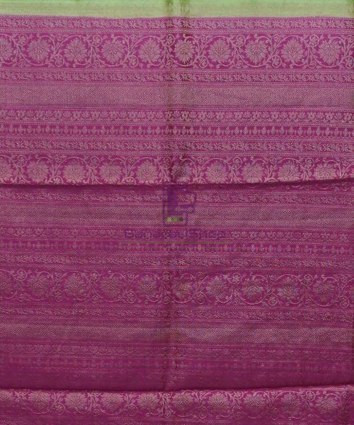 Woven Pure Muga Silk Banarasi Saree in Pear Green 6