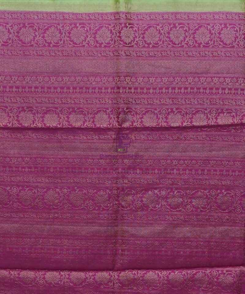 Woven Pure Muga Silk Banarasi Saree in Pear Green 3