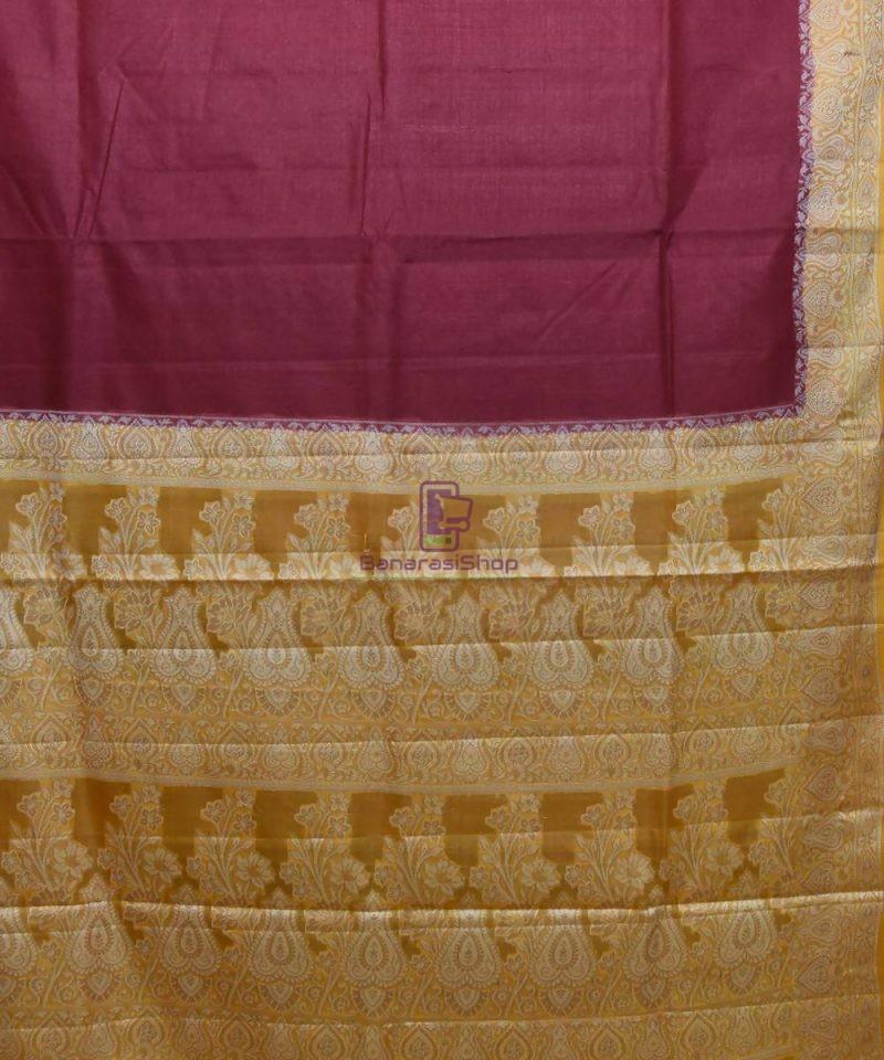 Woven Pure Tussar Silk Banarasi Saree in Dark Mauve 2