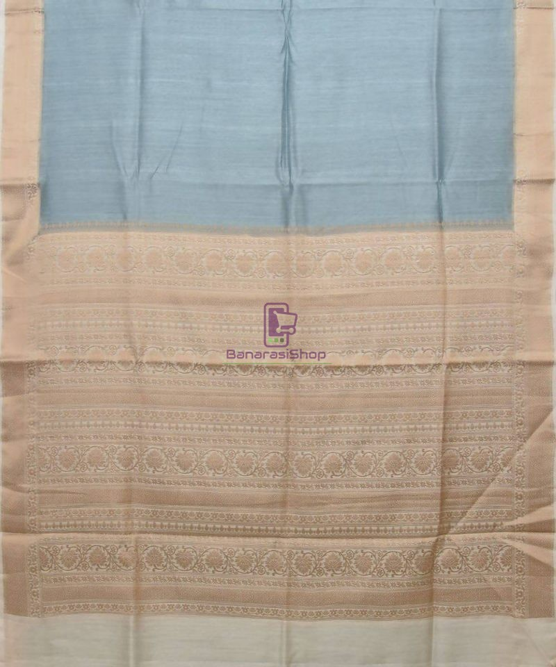 Woven Pure Muga Silk Banarasi Saree in Stone Blue 1