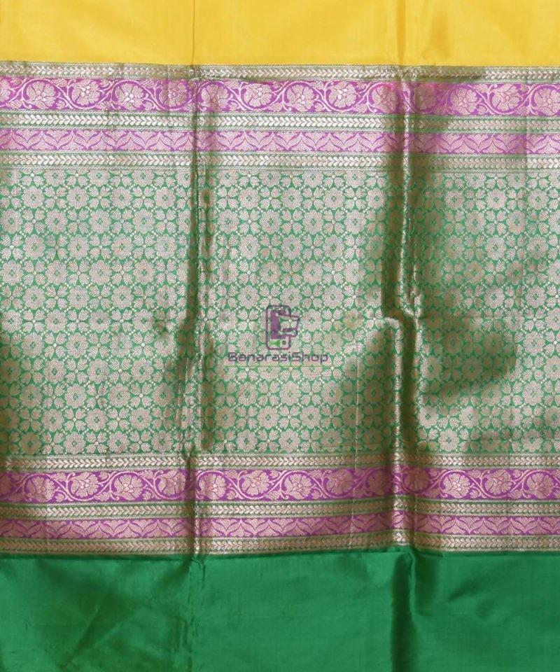 Banarasi Pure Katan Silk Handloom Yellow Saree 3