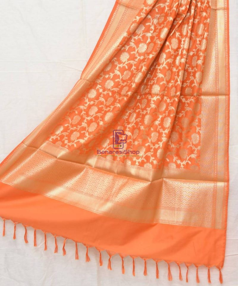 Woven Banarasi Art Silk Dupatta in Orange 1