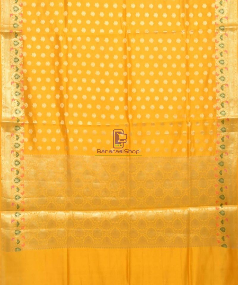 Pure Silk Banarasi Dupion Katan Handloom Saree in Yellow 1