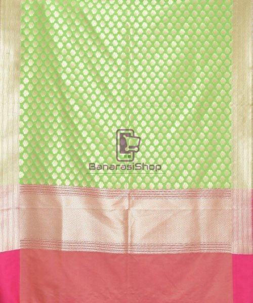 Woven Banarasi Art Silk Dupatta in Lime Green 3