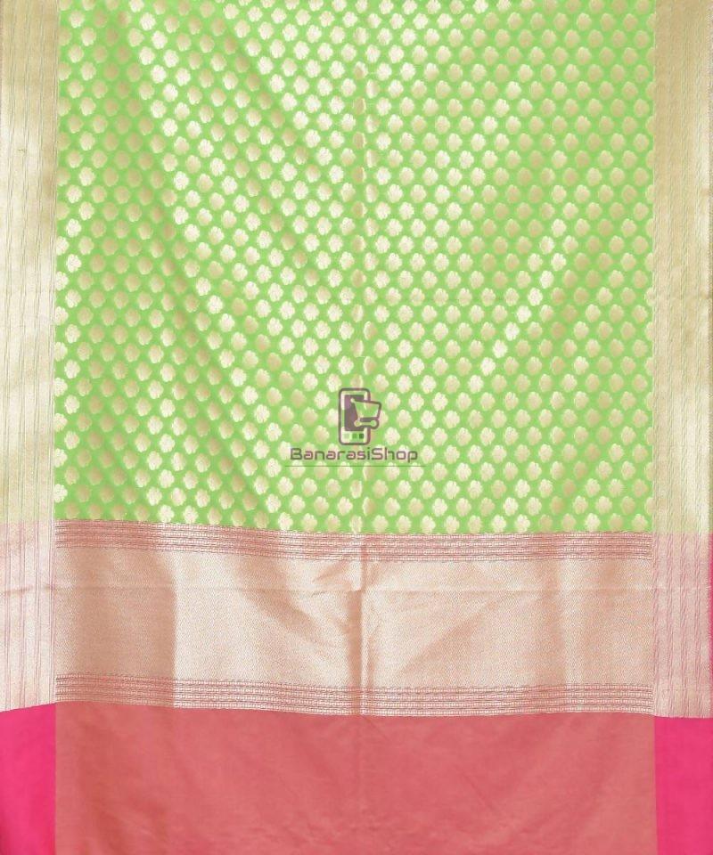 Woven Banarasi Art Silk Dupatta in Lime Green 2