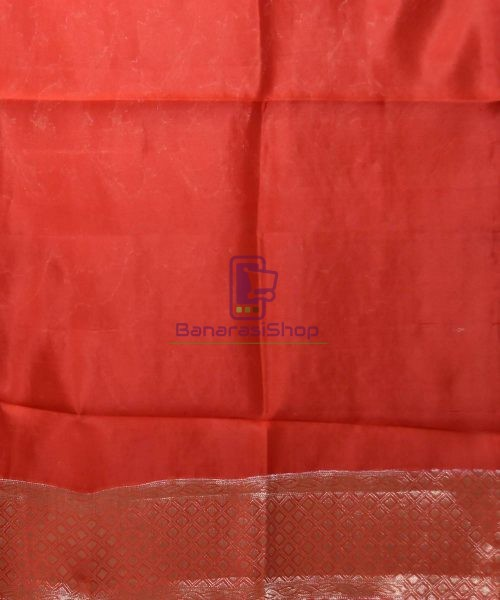 Pure Silk Banarasi Dupion Katan Handloom Saree in Rust Orange 7