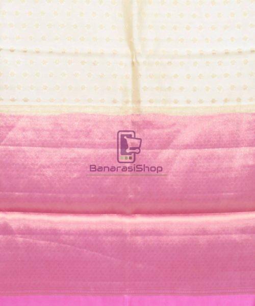 Pure Silk Banarasi Dupion Katan Handloom Saree in Off White 6