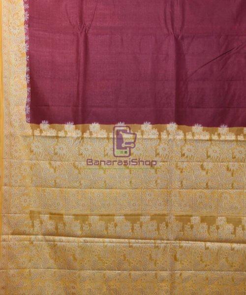 Woven Pure Tussar Silk Banarasi Saree in Plum Purple 5