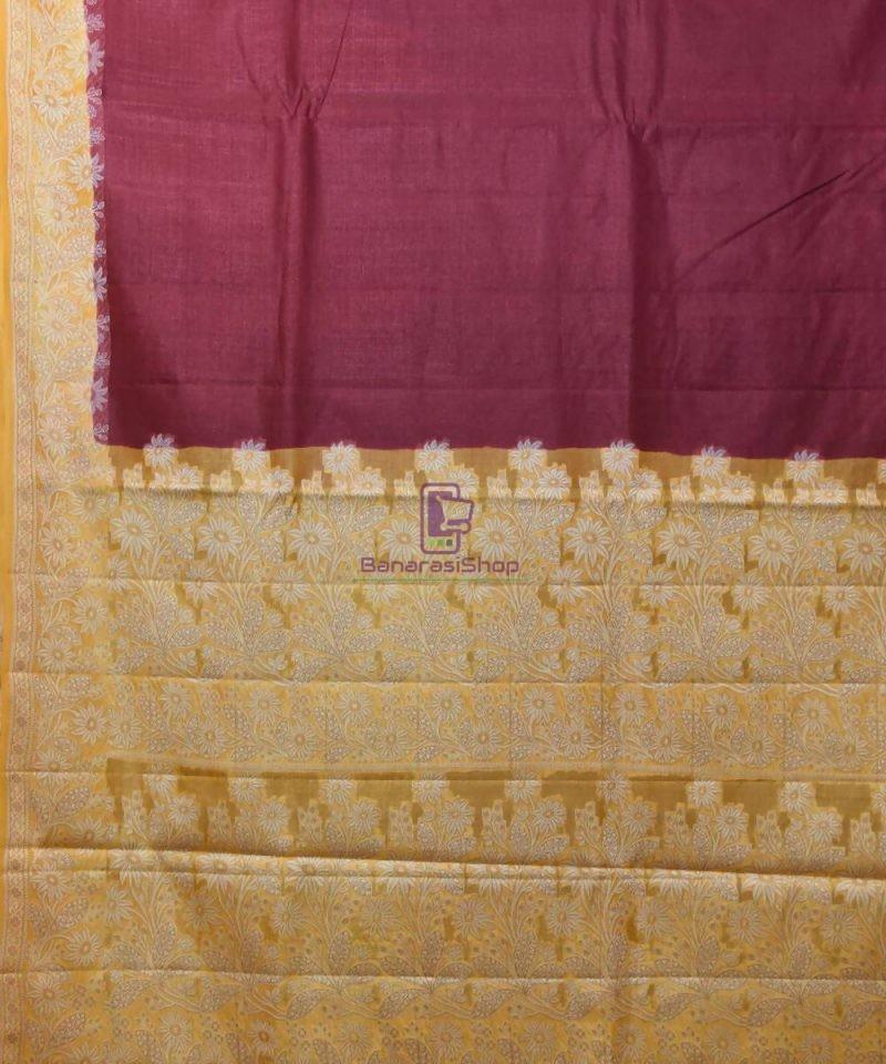 Woven Pure Tussar Silk Banarasi Saree in Plum Purple 2