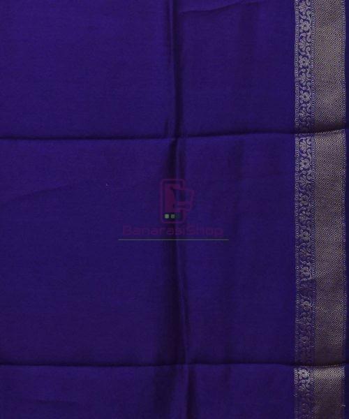 Woven Pure Muga Silk Banarasi Saree in Magenta 7