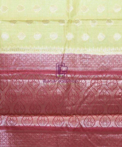 Woven Pure Tussar Silk Banarasi Saree in Olive Green 6