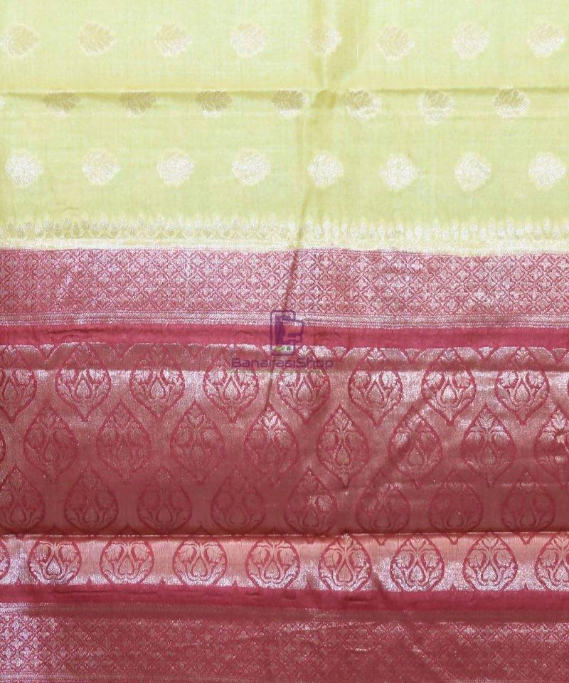 Woven Pure Tussar Silk Banarasi Saree in Olive Green 3