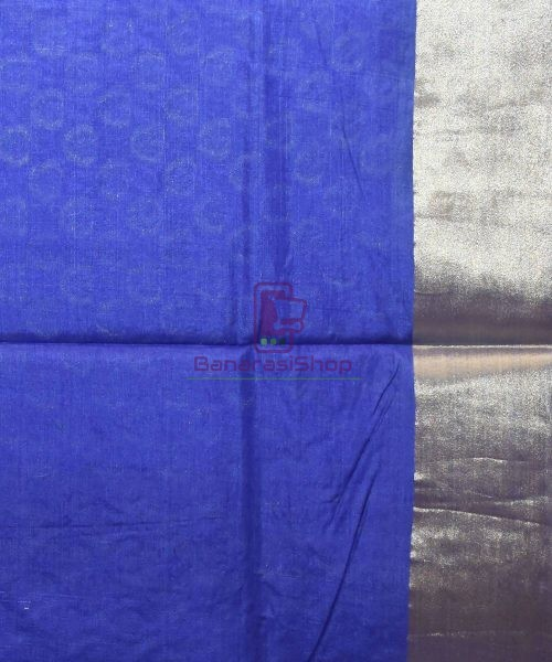 Woven Pure Tussar Silk Banarasi Saree in Azure Blue 7