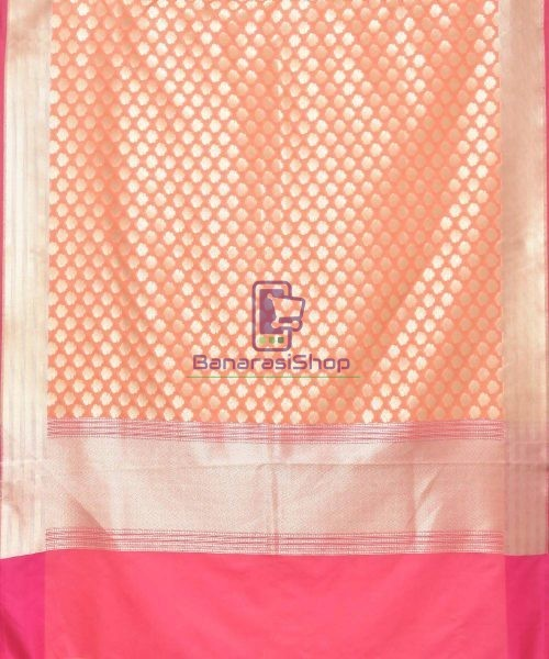 Woven Banarasi Art Silk Dupatta in Peach Pink 3