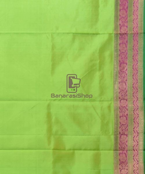 Banarasi Pure Katan Silk Handloom Lime Green Saree 7