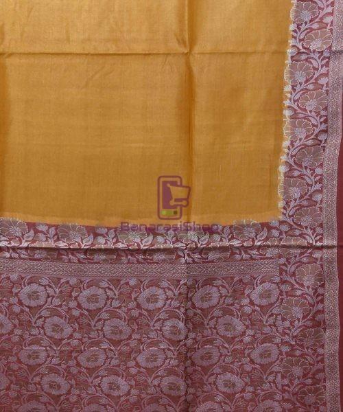 Woven Pure Tussar Silk Banarasi Saree in Mustard Orange 5