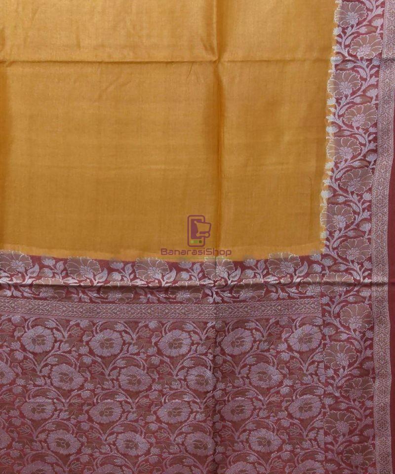Woven Pure Tussar Silk Banarasi Saree in Mustard Orange 2
