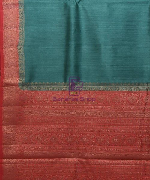 Woven Pure Muga Silk Banarasi Saree in Green 5