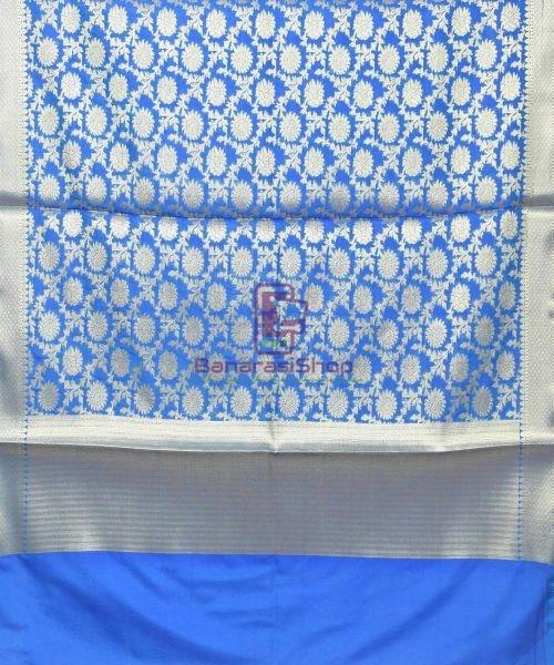Woven Banarasi Art Silk Dupatta in Cobalt Blue 3