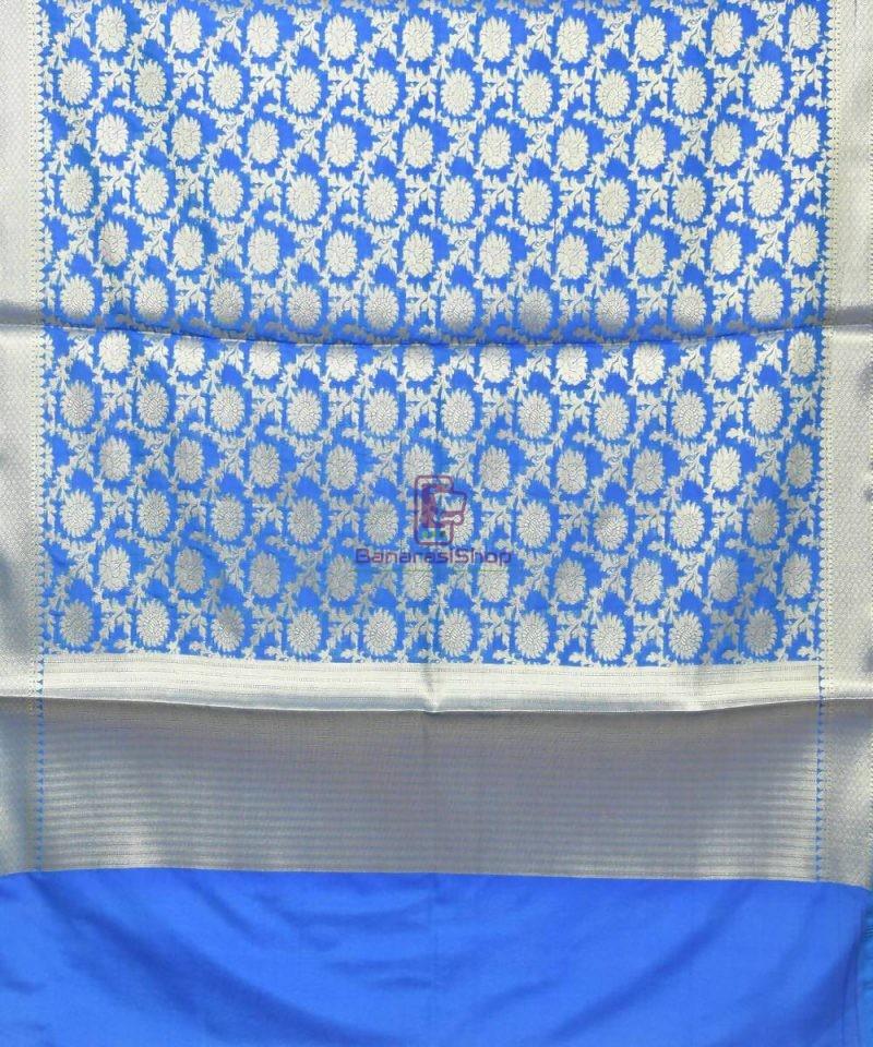 Woven Banarasi Art Silk Dupatta in Cobalt Blue 2