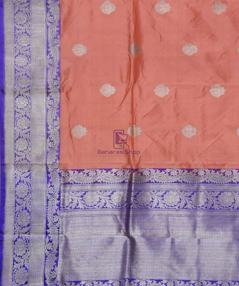 Banarasi Pure Katan Silk Handloom Peach Pink Saree 2
