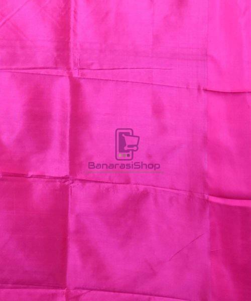 Banarasi Pure Katan Silk Handloom Bubblegum Pink Saree 7
